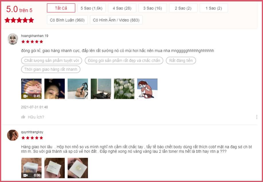 Review sản phẩm mặt nạ nghệ Hưng Yên từ khách hàng